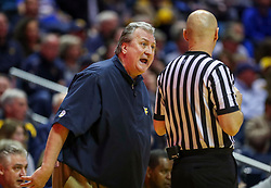 Feb 9, 2019; Morgantown, WV, USA; West Virginia Mountaineers head coach Bob Huggins argues a call during the first half against the Texas Longhorns at WVU Coliseum. Mandatory Credit: Ben Queen-USA TODAY Sports
