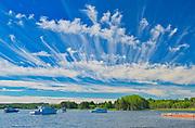 Clouds and boats on Cape Breton, North Sydney, Nova Scotia, Canada