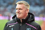 Aston Villa manager Dean Smith  bites his lap during the The FA Cup 3rd round match between Aston Villa and Swansea City at Villa Park, Birmingham, England on 5 January 2019.
