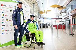Jernej Slivnik and Roman Podlipnik  prior to the departure of Slovenian Paralympic team for Pyeongchang 2018 Winter Paralympics, on March 3, 2018 in Letalisce Jozeta Pucnika, Brnik, Slovenia. Photo by Vid Ponikvar / Sportida