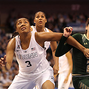 Morgan Tuck, (left), UConn, and Laura Ferreira, USF, in action during the UConn Huskies Vs USF Bulls Basketball Final game at the American Athletic Conference Women's College Basketball Championships 2015 at Mohegan Sun Arena, Uncasville, Connecticut, USA. 9th March 2015. Photo Tim Clayton