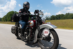 Cris Sommer-Simmons riding her 1934 Harley-Davidson VD in the Cross Country Chase motorcycle endurance run from Sault Sainte Marie, MI to Key West, FL (for vintage bikes from 1930-1948). Stage 5 had riders cover 213 miles from Bowling Green, KY to Chatanooga, TN USA. Tuesday, September 10, 2019. Photography ©2019 Michael Lichter.