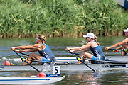 Poznan, POLAND, 21st June 2019, Friday, Morning Heats, USA. W2X -/1 (b) MADDEN Cicely and (s) STONE Genevra, FISA World Rowing Cup II, Malta Lake Course, © Peter SPURRIER/Intersport Images,<br /> <br /> 10:34:05