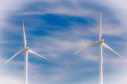 Wind turbines at San Gorgonio Pass Wind Farm, Palm Springs, California USA