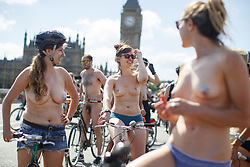 June 10, 2017 - London, England, United Kingdom - Nude protesters take part in a naked bike ride in central London as part of the World Naked Bike Ride event, which protests against car culture and aims to raise awareness of cyclists on the roads. (Credit Image: © Tolga Akmen/London News Pictures via ZUMA Wire)