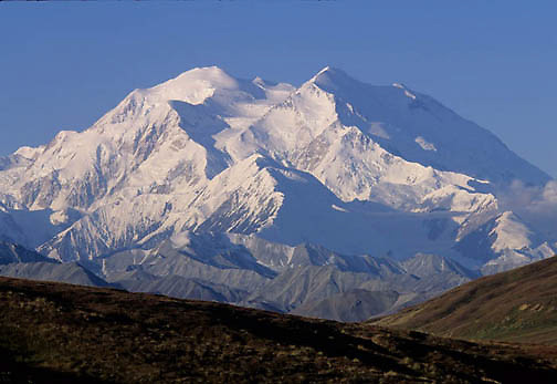 Denali National Park, snow capped Mount McKinley. Alaska.