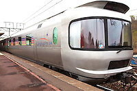 """Cassiopia special train from Tokyo to Sapporo, with view of the observation car.  The Cassiopia is one of the few """"blue trains"""" or night trains left in Japan as a result of the bullet train."""