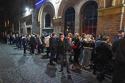 © Licensed to London News Pictures. 17/04/2021. Liverpool, UK. Revellers wait in the queue to enter a bar in Liverpool city centre after lockdown restrictions were eased Photo credit:  Ioannis Alexopoulos/LNP