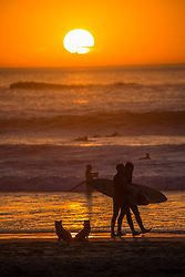 © Licensed to London News Pictures.  11/10/2021. Faro, Portugal. Surfers are seen enjoying the sunset along the coast in Amado Beach, Algarve, Portugal as  the UK's traffic light system has been scrapped last Monday, with locations categorised as either on the red list or not. NHS COVID Pass holders, who do not also have an EU digital COVID certificate, must take a COVID-19 test to enter Portugal. Photo credit: Marcin Nowak/LNP