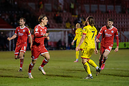 GOAL 1-1 Crawley Town forward Tom Nichols (#16) scores from the penalty spot in stoppage time in the EFL Sky Bet League 2 match between Crawley Town and Walsall at The People's Pension Stadium, Crawley, England on 16 March 2021.