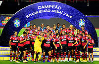 SAO PAULO, BRAZIL - FEBRUARY 25: Players of CR Flamengo celebrates the championship ,after a Brasileirao Serie A 2020 match between Sao Paulo FC and CR Flamengo at Morumbi Stadium on February 25, 2021 in Sao Paulo, Brazil. <br />  (Photo by MB Media/BPA)