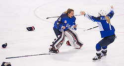 February 22, 2018 - Pyeongchang, South Korea - US Olympic Women'€™s hockey team members ALEX RIGSBY, left, and MONIQUE LAMOUREUX-MORANDO celebrate their 3-2 overtime win over Canada in the Women's Gold Medal Ice Hockey game Thursday, February 22, 2018 at Gangneung Hockey Centre at the Pyeongchang Winter Olympic Games. Photo by Mark Reis, ZUMA Press/The Gazette (Credit Image: © Mark Reis via ZUMA Wire)