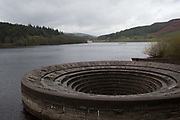 Giant plug hole, Ladybower reservoir, Peak district, Derbyshire, UK