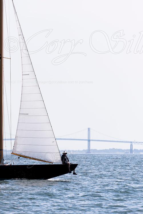 Falcon sailing in the Panerai Newport Classic Yacht Regatta, day two.