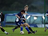 Fotball, 21. februar 2004, La Manga, Rosenborg-Dynamo Kiev 4-4,  Erik Hoftun, Rosenborg, og Klebr, Dynamo Kiev