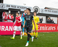 BOREHAMWOOD, ENGLAND - Saturday, September 28, 2019: Liverpool's Curtis Jones leads out the team before the Under-23 FA Premier League 2 Division 1 match between Arsenal FC and Liverpool FC at Meadow Park. (Pic by Kunjan Malde/Propaganda)