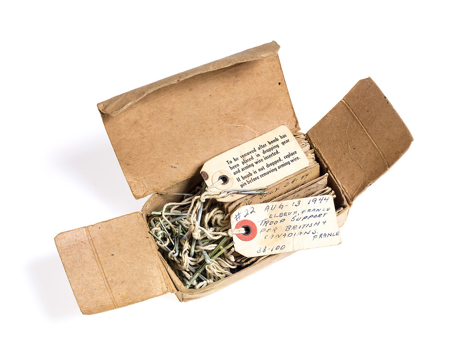 Bomb tags kept as souvenirs of the 34 missions Walter Thomason flew over occupied Europe.