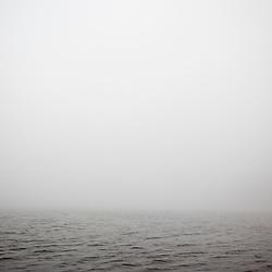 Fog on Echo Lake, Acadia National Park, Maine.