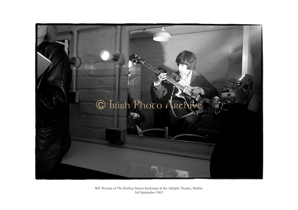Bill Wyman of The Rolling Stones backstage at the Aldelphi Theatre, Dublin.<br /> <br /> 3rd September 1965<br /> 03/09/1965