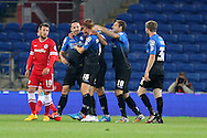 Dan Gosling of Bournemouth (second left) celebrates after scoring his side's first goal. Capital One Cup, 3rd round match, Cardiff City v AFC Bournemouth at the Cardiff City stadium in Cardiff, South Wales on Tuesday 23rd Sept 2014<br /> pic by Mark Hawkins, Andrew Orchard sports photography.