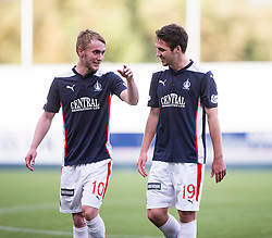 Falkirk's Craig Sibbald at the end o fthe game with with second goal scorer Luke Leahy.<br /> Falkirk 2 v 1 Alloa Athletic, Scottish Championship game played 4/10/2014 at The Falkirk Stadium.