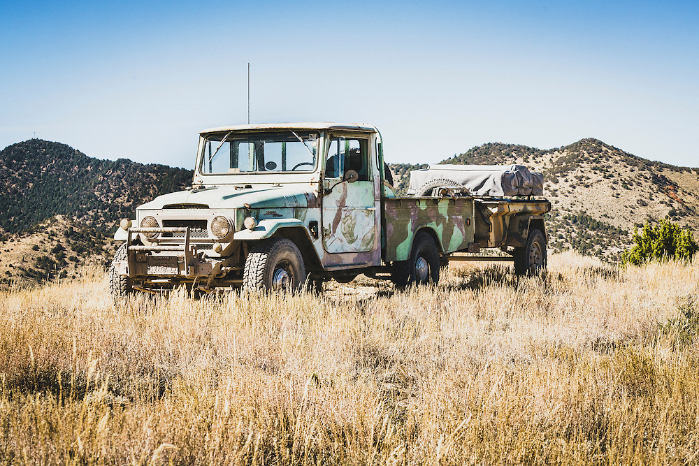 Rob Tygart from Yucaipa, CA, 1967 FJ45 towing 1967 MF16 military trailer, Eureka, Utah. Part of an overland group who traveled from Green River to Cruiser Fest 16 In Salt Lake City.