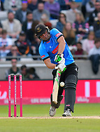 Luke Wright of Sussex hits the ball to the boundary for four runs during the Vitality T20 Finals Day Semi Final 2018 match between Worcestershire Rapids and Lancashire Lightning at Edgbaston, Birmingham, United Kingdom on 15 September 2018.
