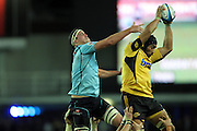 Victor Vito out jumps Dane Douglas. Waratahs v Hurricanes. 2012 Super Rugby round 15 match. Allianz Stadium, Sydney Australia on Saturday 2 June 2012. Photo: Clay Cross / photosport.co.nz