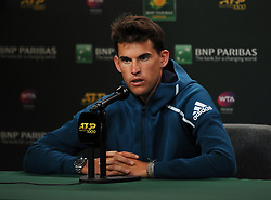 March 7, 2019 - Indian Wells, CA, U.S. - INDIAN WELLS, CA - MARCH 07: ATP tennis player Dominic Theim (AUS) talks to the media on March 7, 2019 at the Indian Wells Tennis Garden in Indian Wells, CA. (Photo by John Cordes/Icon Sportswire) (Credit Image: © John Cordes/Icon SMI via ZUMA Press)
