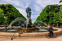 Water fountain (Fontaine des Quartre Parties du Monde), Jardins des Grands Explorateurs, adjacent to the Luxembourg Gardens, Paris, France.
