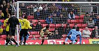 Photo:  Frances Leader.<br /> Watford v Coventry City. Coca Cola Championship. <br /> Vicarage Road Stadium<br /> 05/03/2005<br /> Coventry's Trevor Benjamin scores the first goal.
