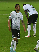 Football - 2020 / 2021 Sly Bet Championship - Swansea City vs Queens Park Rangers - Liberty Stadium<br /> <br /> \swansea look down as Lyndon Dykes of QPR celebrates scoring his team's first goal<br /> <br /> COLORSPORT/WINSTON BYNORTH