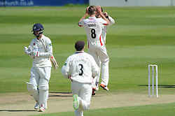 Tom Bailey celebrates as Gareth Roderick of Gloucestershire is caught by Paul Horton - Photo mandatory by-line: Dougie Allward/JMP - Mobile: 07966 386802 - 08/06/2015 - SPORT - Football - Bristol - County Ground - Gloucestershire Cricket v Lancashire Cricket Day 2 - LV= County Championship