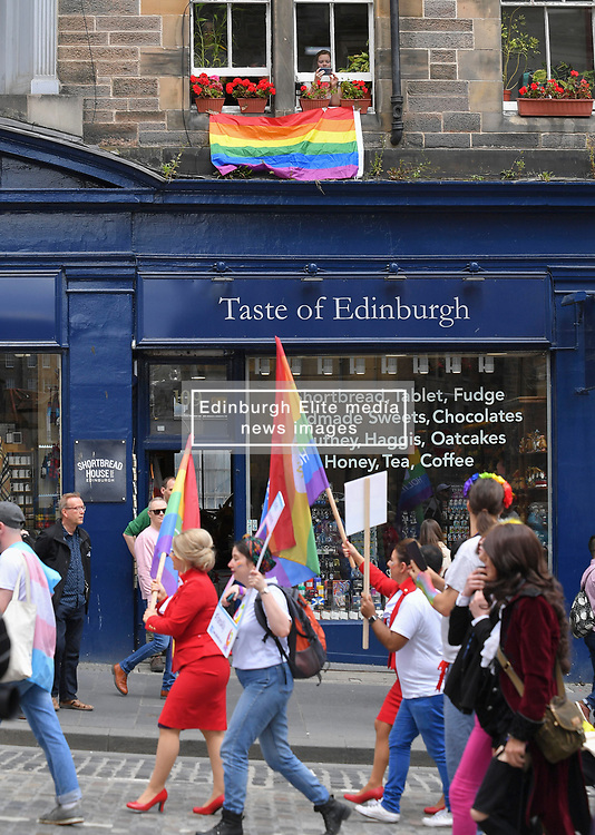 Thousands of marchers rallied outside the Scottish Parliament to celebrate the annual Scotia Pride march through Edinburgh, which was led by politicians including Alex Cole-Hamilton, Kezia Dugdale and Jenny Gilruth.<br /> <br /> © Dave Johnston / EEm