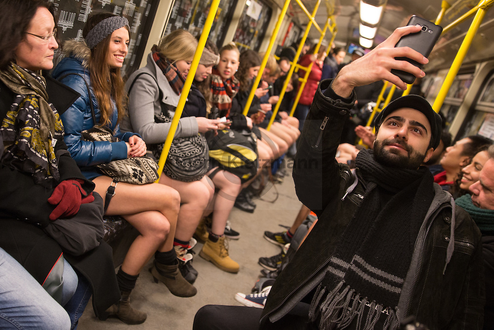 Berlin, Germany - 10.01.2016<br /> <br /> Approximately 200-300 people participated in the metro Flashmob 'No pants subway ride' and drove in public transport without pants. The fun action took place in Berlin already for the fifth time.<br /> <br /> Etwa 200-300 Menschen beteiligten sich am U-Bahn Flashmob No pants subway ride und fuhren im öffentlichen Nahverkehr ohne Hose. Die Spaßaktion fand bereits zum fuenften Mal in Berlin statt.