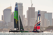 SailGP Australia Team and SailGP GBR Team in race three on day one of competition. Event 1 Season 1 SailGP event in Sydney Harbour, Sydney, Australia. 15 February 2019. Photo: Chris Cameron for SailGP. Handout image supplied by SailGP