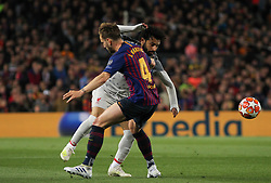 May 1, 2019 - Barcelona, Barcelona, Spain - Salah of Liverpool and Rakitic of Barcelona in action during UEFA Champions League football match, between Barcelona and Liverpool, Mayl 01th, in Camp Nou stadium in Barcelona, Spain. (Credit Image: © AFP7 via ZUMA Wire)