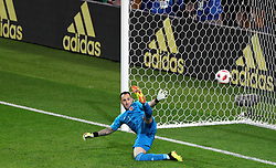 Colombia goalkeeper David Ospina lets in a penalty, allowing England's Harry Kane (not pictured) to score his side's first goal of the game the FIFA World Cup 2018, round of 16 match at the Spartak Stadium, Moscow.