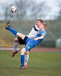 Edinburgh City's Shaun Harrison and Gretna FC2008's Iain Anderson. <br /> Half time : Edinburgh City 0 v 0 Gretna FC2008, Scottish Sun Lowland League game played at Meadowbank Stadium, 28/3/2015.