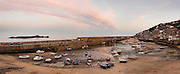 Limited Editions of 17<br /> Panoramic view of the Mouse Hole Harbour at low tide and last light Cornwall, UK