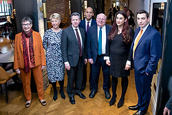 © Licensed to London News Pictures. 18/02/2019. London, UK. From left: former Labour MPs Ann Coffey, Angela Smith, Chris Leslie, Chuka Umunna, Mike Gapes, Luciana Berger and Gavin Shuker in Westminster, London. They have announced the formation of a new political party, The Independent Group, formed by breakaway Labour MPs who disagree with Labour Party action on Brexit and Antisemitism. Photo credit: Rob Pinney/LNP
