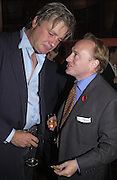 the Marquess of Worcester and Andrew Roberts. Tom Parker Bowles, Susan Hill and Matthew Rice host party to launch 'E is For Eating' Kensington Place. 3 November 2004.  ONE TIME USE ONLY - DO NOT ARCHIVE  © Copyright Photograph by Dafydd Jones 66 Stockwell Park Rd. London SW9 0DA Tel 020 7733 0108 www.dafjones.com