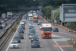 © Licensed to London News Pictures. 26/08/2017. Milton Keynes, UK. The M1 motorway reopens at Milton Keynes, near the the scene of a crash involving a minibus and two lorries. Police say that several people are dead and four others have been taken to hospital after the accident on the southbound carriageway in the early hours of this morning. Photo credit: Ben Cawthra/LNP