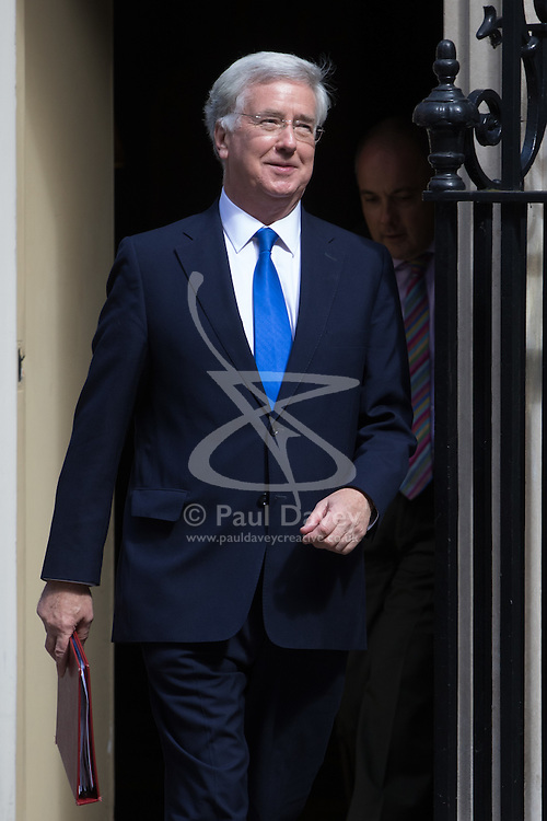 Defence Secretary Michael Fallon leaves Prime Minister David Cameron's final cabinet meeting following Theresa May's anticipated takeover as Leader of the Conservative Party and Prime Minister on Wednesday 13th July 2016.