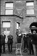 Bloomsday. Plaque unveiled at James Joyce's birthplace, 41 Brighton Square. Frederick H. Young, Professor of English at Montclare State College, New Jersey, addresses the gathering before unveiling the plaque..16.06.1964