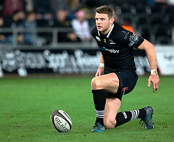 Ospreys' Dan Biggar lines up a kick at goal<br /> <br /> Photographer Simon King/Replay Images<br /> <br /> Guinness PRO14 Round 19 - Ospreys v Connacht - Friday 6th April 2018 - Liberty Stadium - Swansea<br /> <br /> World Copyright © Replay Images . All rights reserved. info@replayimages.co.uk - http://replayimages.co.uk