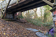 An activist against the proposed felling of two 100+ year-old oak trees, occupies the site under  'Pissarro's' footbridge whose renovation has been deemed necessary by the Southwark Council , on 17th November 2020, in London, England. The Nunhead to Crystal Palace (High Level) railway once passed through the Wood and Impressionist artist Camille Pissarro (1830–1903) famously painted a railway landscape from the bridge in the 1870s. Sydenham Hill Wood forms part of the largest remaining tract of the old Great North Wood, a vast area of worked coppices and wooded commons that once stretched across south London. The habitat is home to more than 200 species of trees and plants as well as rare fungi, insects, birds and woodland mammals.