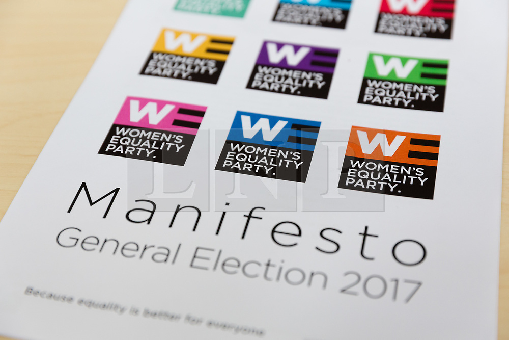 © Licensed to London News Pictures. 12/05/2017. LONDON, UK.  A copy of the Women's Equality Party general election manifesto, which Sophie Walker, the leader of the Women's Equality Party launched at party headquarters in London.  Photo credit: Vickie Flores/LNP