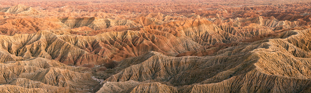 The Borrego Badlands fron Fonts Point at twilight shown in a Panorama.