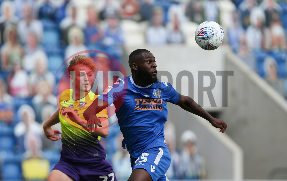 Frank Nouble of Colchester United controls the ball under pressure - Mandatory by-line: Arron Gent/JMP - 18/06/2020 - FOOTBALL - JobServe Community Stadium - Colchester, England - Colchester United v Exeter City - Sky Bet League Two Play-off 1st Leg